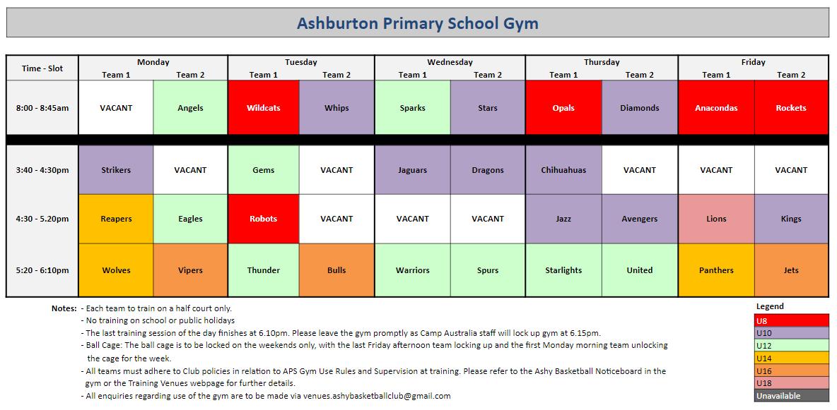 Training Schedule – Ashy Basketball Club